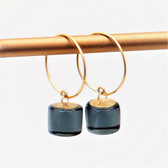 Hoop Earrings, brass & black glass, Rosa Mendez