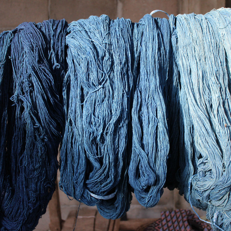 Indigo dyed yarn, picture by Saoban