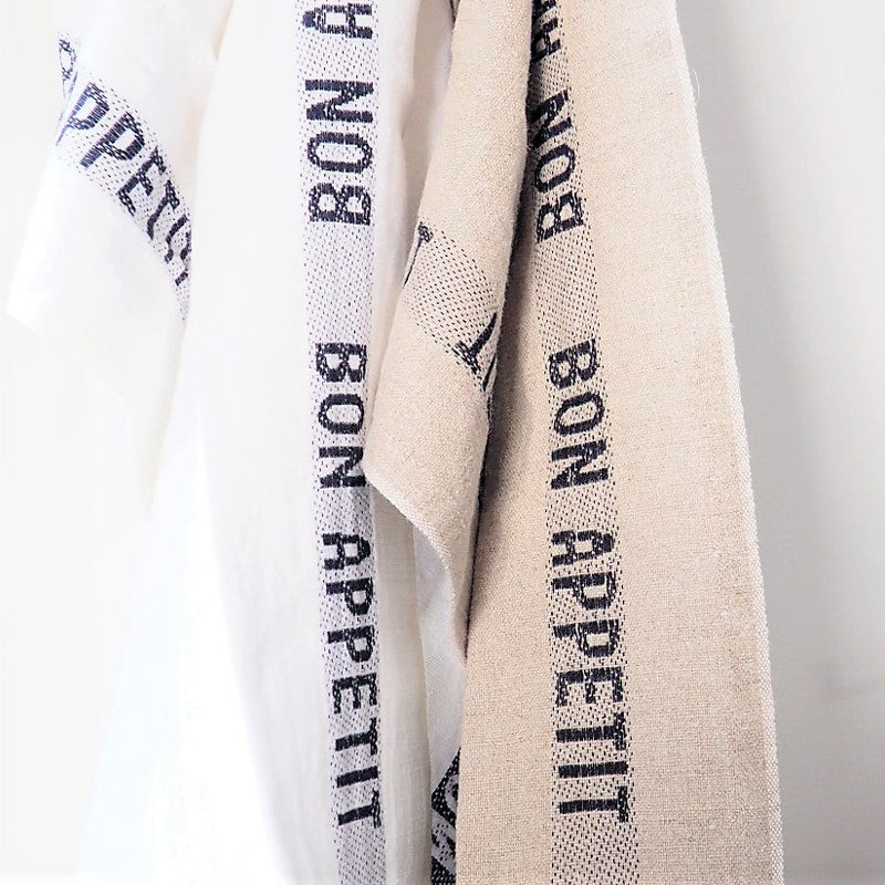 Linen Tea Towel Bon Appetit, Natural