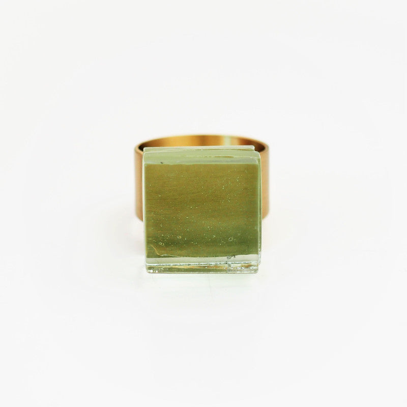 Ring New York, brass & clear glass, Rosa Mendez