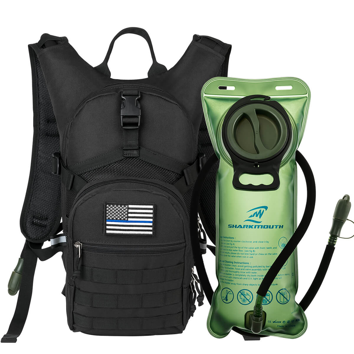 SHARKMOUTH Tactical MOLLE Hydration Pack Backpack 900D with 2L Leak-Proof  Water Bladder, Keep Liquids Cool for Up to 4 Hours, Daypack for Hiking,