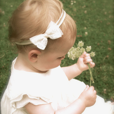 Amber Lace Bow Silk Baby Headband, Christening Headband, Silk Baby Hairband, Ivory Baby Headband, Pink Baby Headband, Flower Girl Headband, Lace Bow Headband