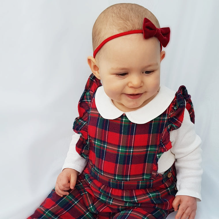 Velvet Baby Bow Headband Set / Navy and Red