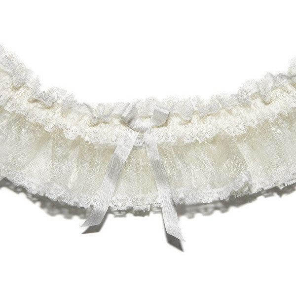 Elphie Sheer Lace Wedding Garter, Ivory Lace Bridal Garter from LovebySusie Bridal Lingerie, Luxury Wedding Garters, Silk wedding Garter