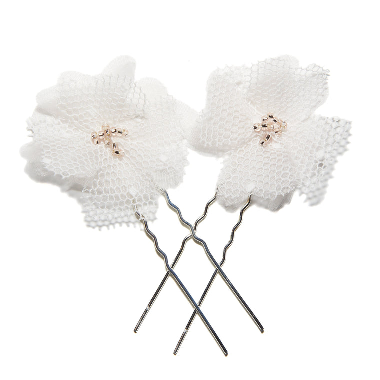 Florrie Spot Tulle Silk flower Hair Pins form Lovebysusie Wedding Hair Accessories