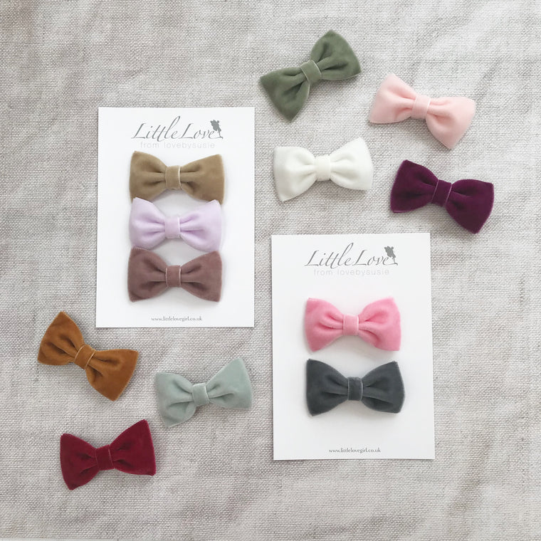 Velvet Bow Hair Clip Set / Custom Colours