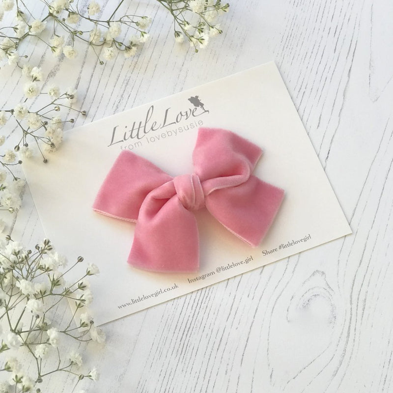 Rose Pink velvet bow hair clip, pink Hair Bow For Flower girl, Bright pink bow hair clip, Rose pink velvet bow, pink velvet hair bow, pink flower girl bow, velvet bow, flower girl hair accessory, Little Love Bows, pink velvet hair bow clip
