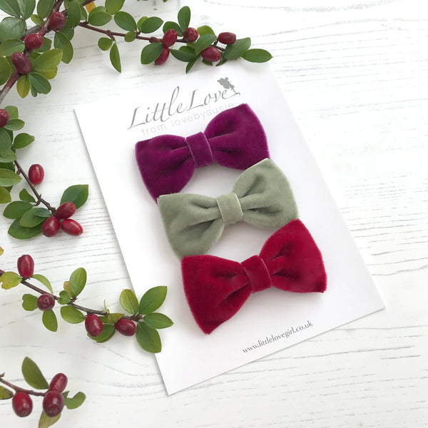 Velvet Bow Hair Clip Set / Christmas