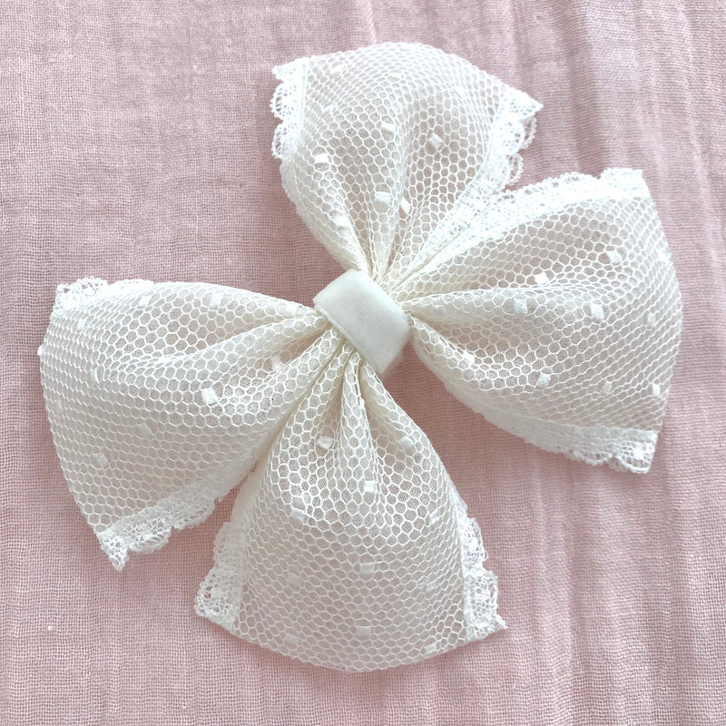 Gigi Spot Lace Flower Girl Bow Clip