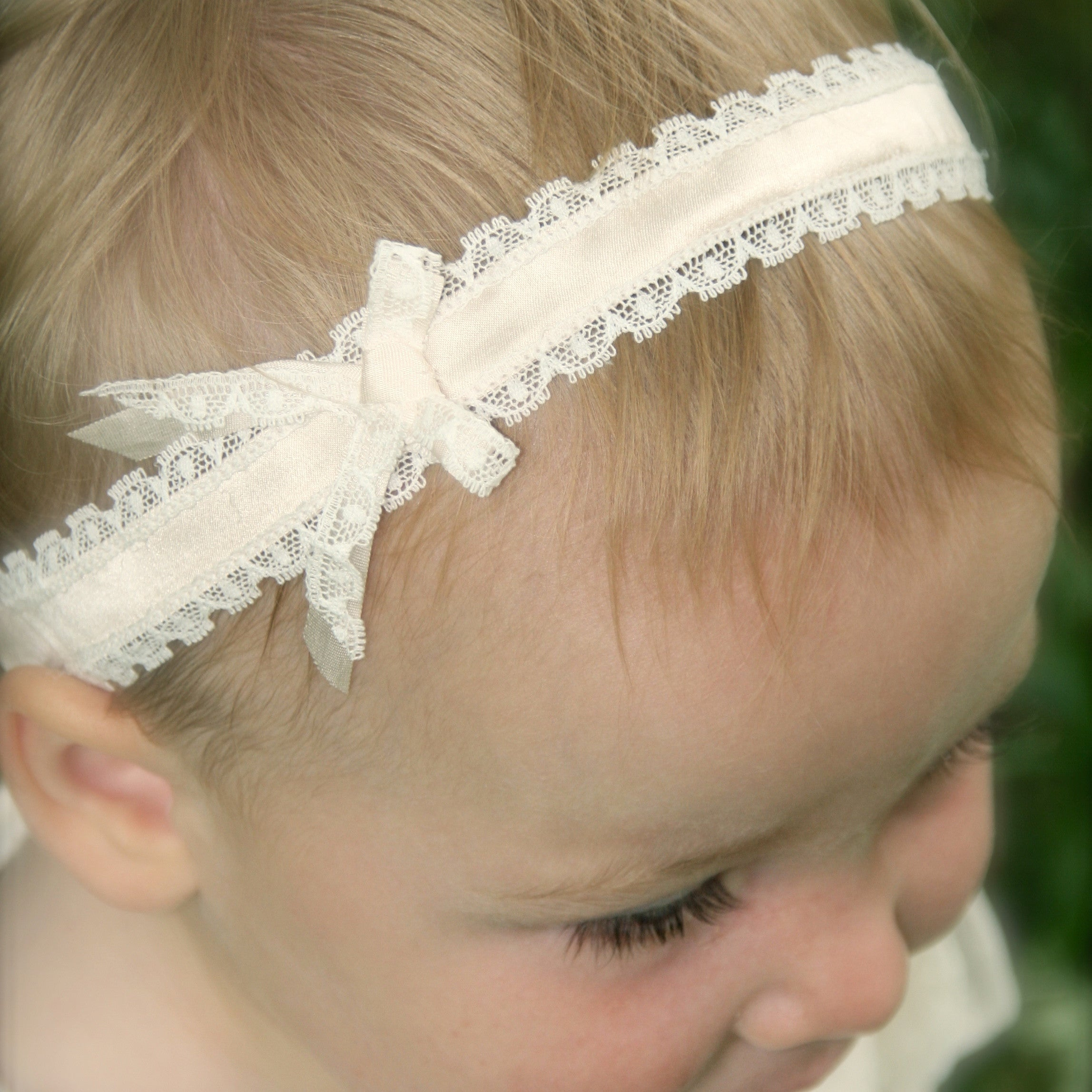 Darcy Silk baby Headband, Christening headband, Lace Baby Headband, Toddler Silk headband, Baby Headbands