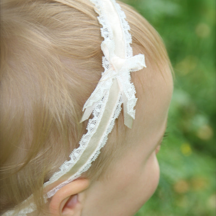 Darcy Silk baby Headband, Christening headband, Lace Baby Headband, Toddler Silk headband, Luxury Baby Headbands
