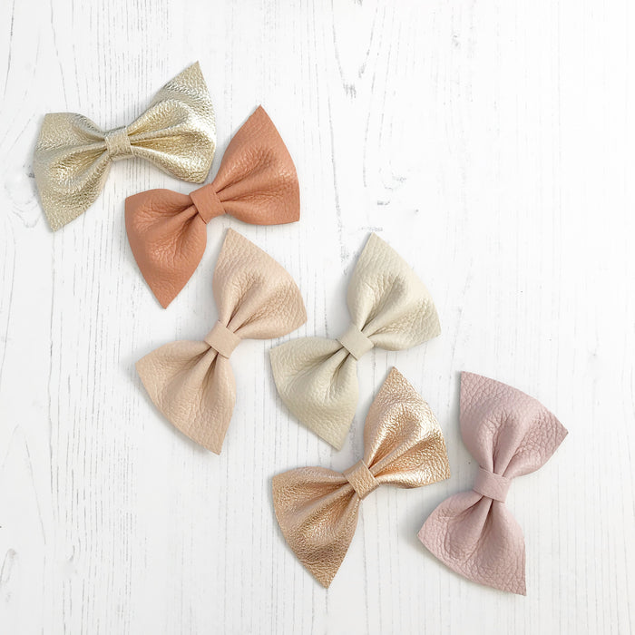 arlow leather bow hair clip in beautiful muted pastels, neutrals, metallics, Girls Hair Clips, Little Love Hair Bow, Leather Bows, Gold Bow, Metallic Leather Hair bow, Pink Leather Bow, Little Love, Rose Gold Hair Bow, pink leather bow, Neutral leather bows, genuine leather bow hair clips, hair bows for girl