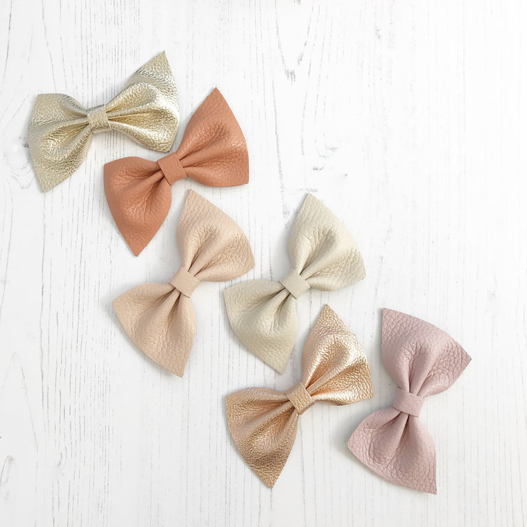 Harlow leather bow hair clip in beautiful muted pastels, neutrals, metallics, Girls Hair Clips, Little Love Hair Bow, Leather Bows, Gold Bow, Metallic Leather Hair bow, Gold Leather Bow, Little Love, Gold Hair Bow,gold leather bow, gold leather bows, genuine leather bow hair clips, gold hair bows for girl