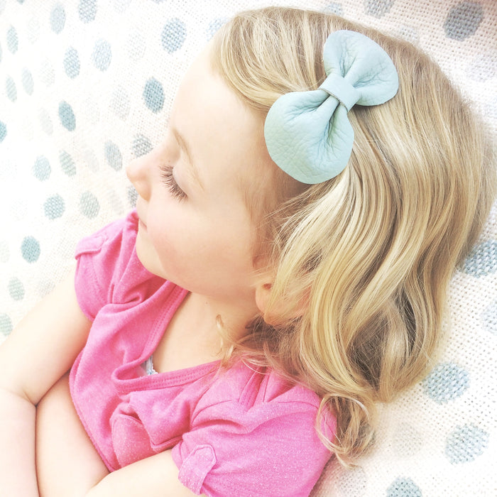 Mint Green Leather Bow Hair Clip from Little Love Girls Accessories