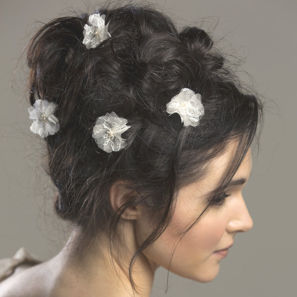 Aurora Chantilly Lace Silk flower Hair Pins from Lovebysusie Wedding Hair Accessories