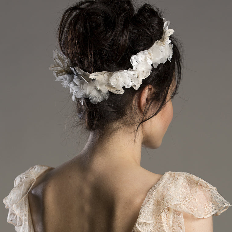 Majesta Lace and Silk Floral Crown form LovebySusie Bridal Accessories