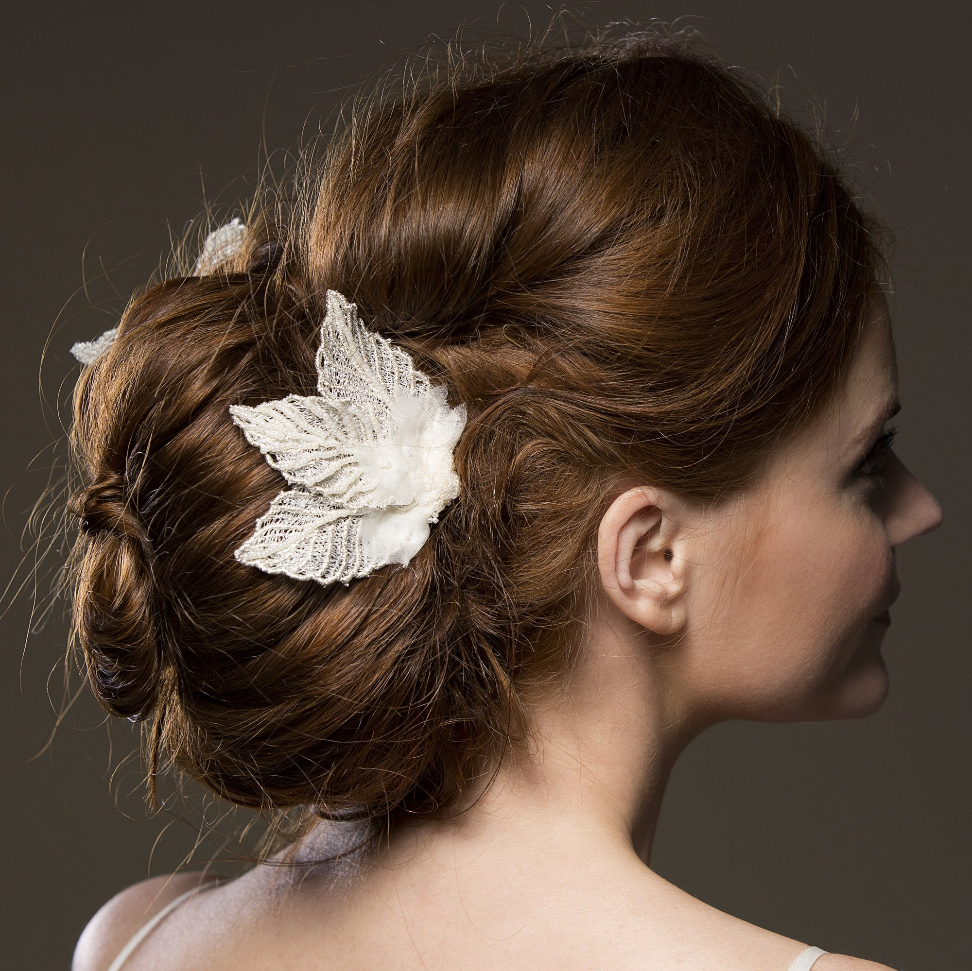 aphrodite silver leaves bridal comb, silver wedding hair accessory