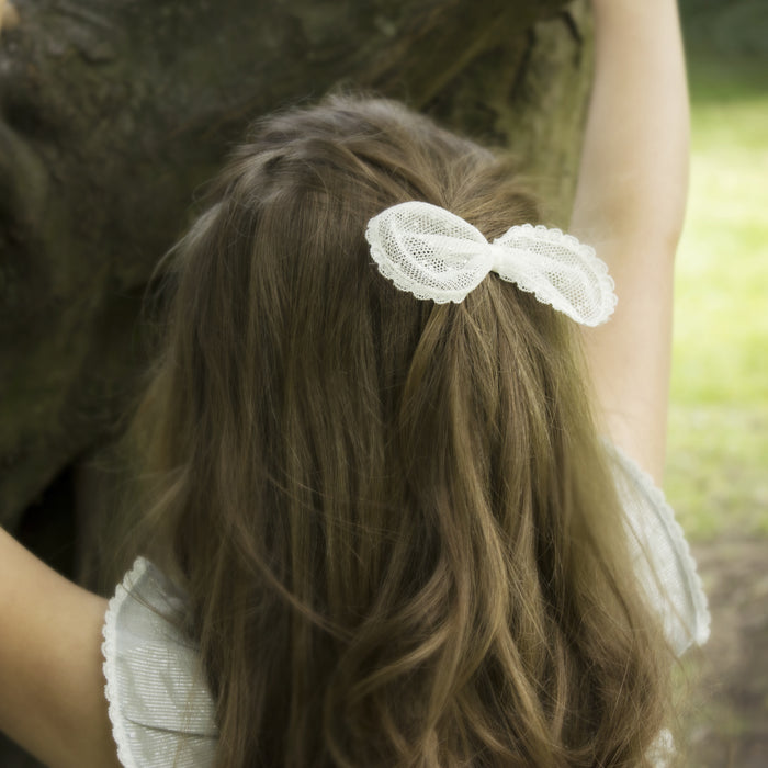 Sophia Spot Lace Bow Flower Girl Hair Clip, Flower Girl Hair Accessory, Lace Bow Hair Clip, Flower Girl Bow, Ivory Lace Bow