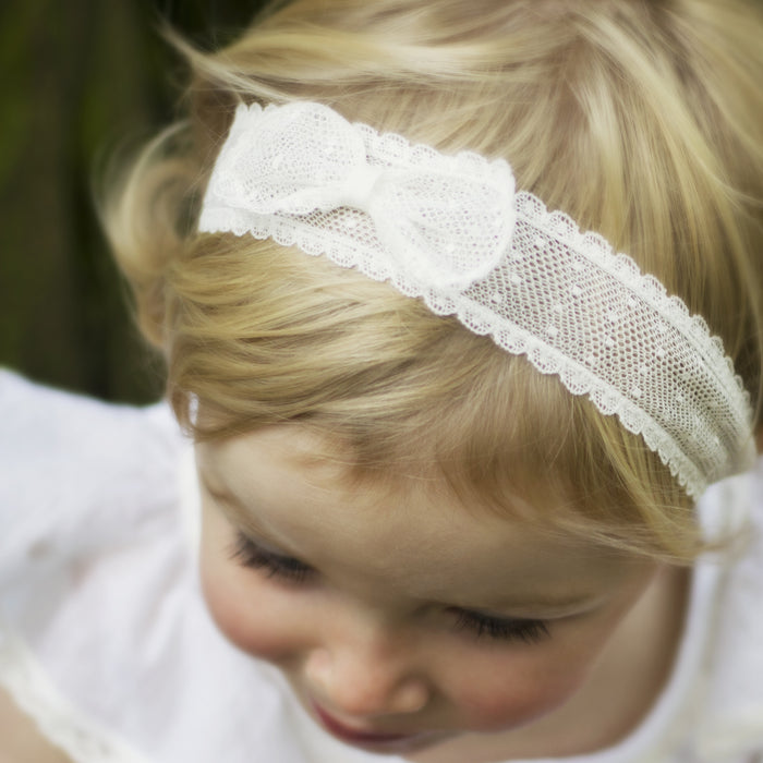 Marnie Spot Lace Baby Bow Headband, Lace baby Headband, Baby Headbands, Flower girl Headband, Ivory Lace Bow Headband, Girls Hair accessories, Baby hair accessory, Baby Bow