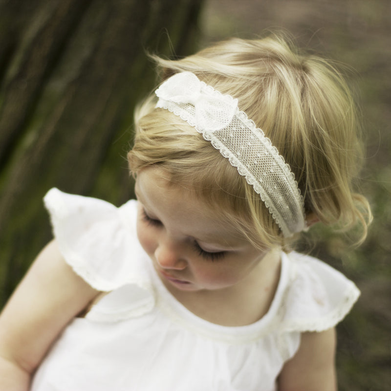 Marnie Spot Lace Baby Bow Headband, Lace baby Headband, Baby Headbands, Flower girl Headband, Ivory Lace Bow Headband