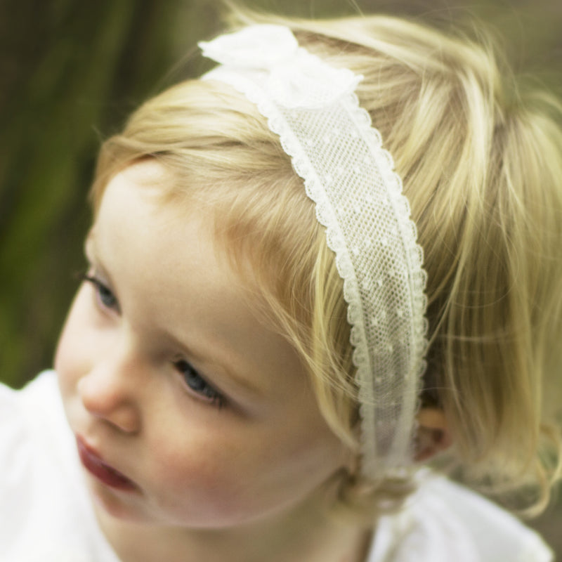 Marnie Spot Lace Baby Bow Headband, Lace baby Headband, Baby Headbands, Flower girl Headband, Ivory Lace Bow Headband, Girls Hair accessories, Baby hair accessory, Ivory Baby Bow