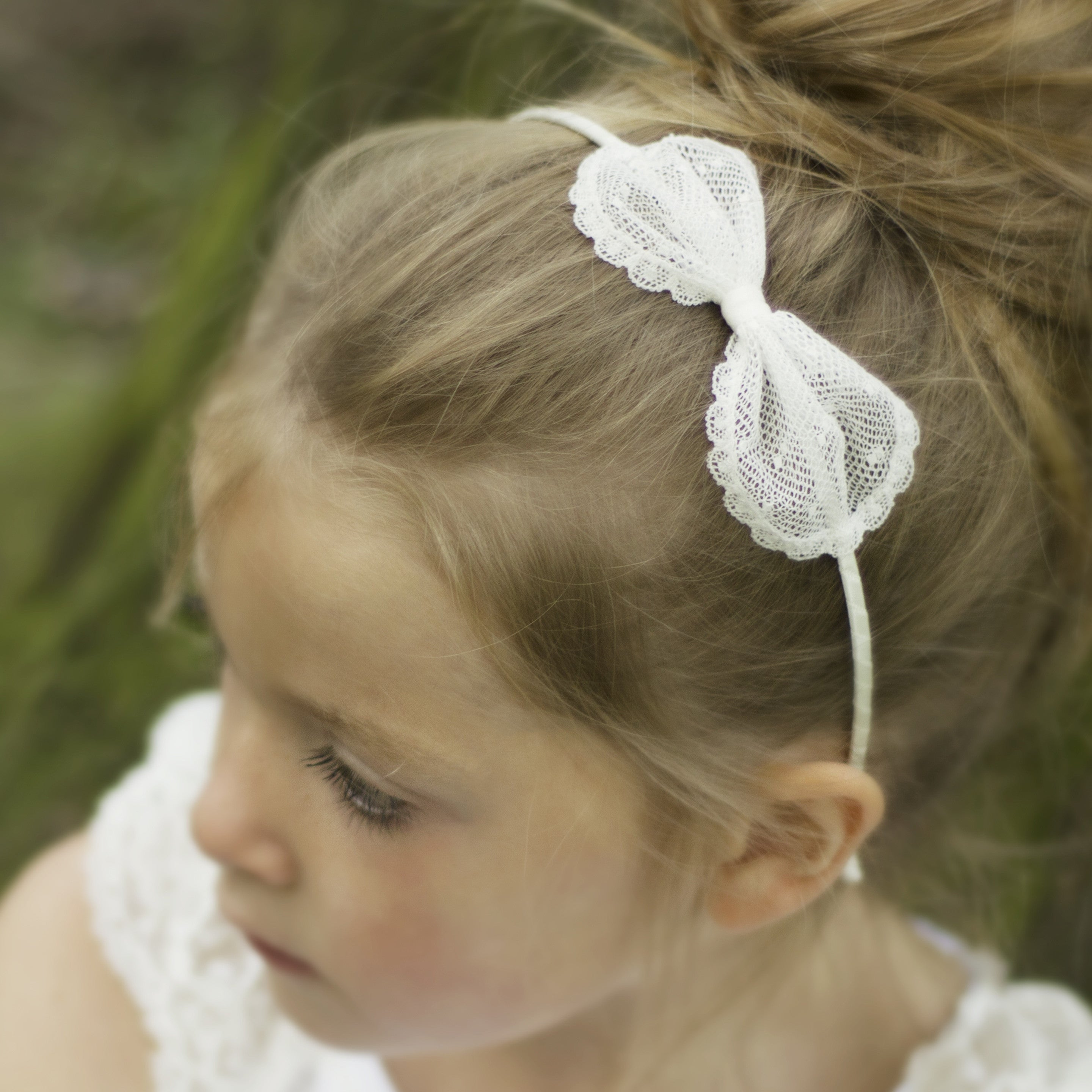 Sophia Spot Lace Bow Flower Girl Hairband, Ivory Lace Bow, Flower Girl Hair Accessory, Ivory Lace Hair Bow, Girls Bows