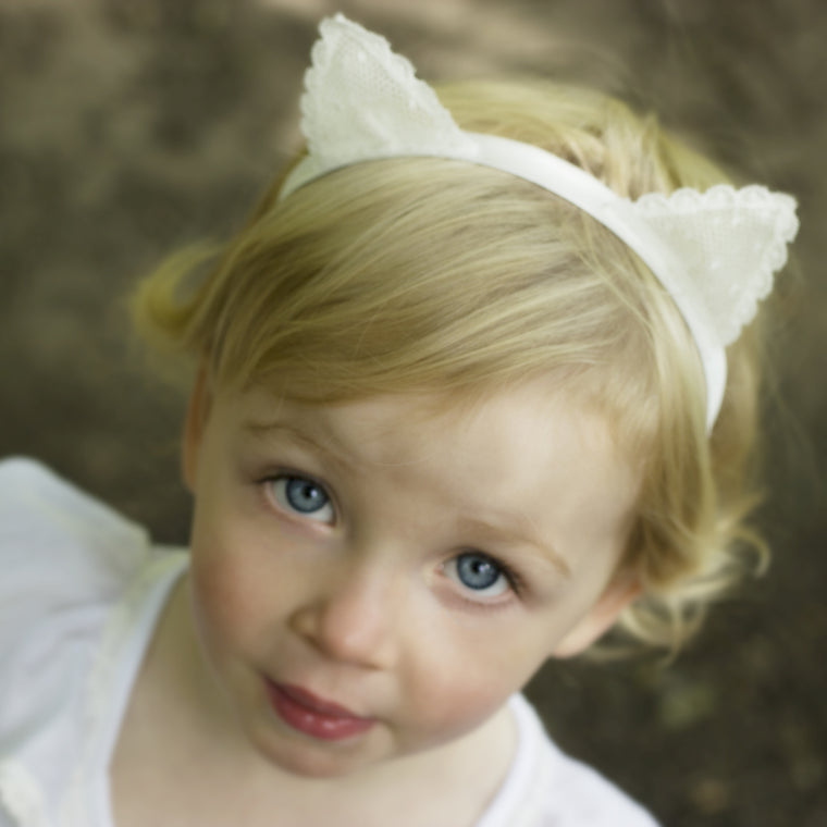 Lace Kitten Ears Silk Baby Headband