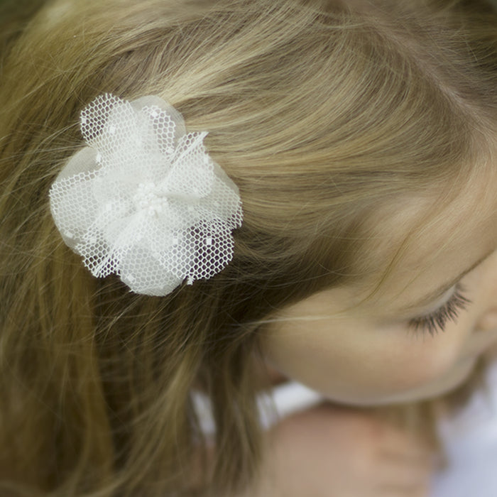 Ellie Beaded Silk Flower Girl Hair Clip, Flower Girl Hair Accessory, Pink Flower Hair Clip, Ivory Flower Hair Clip, Little Love, Girls Hair Accessories