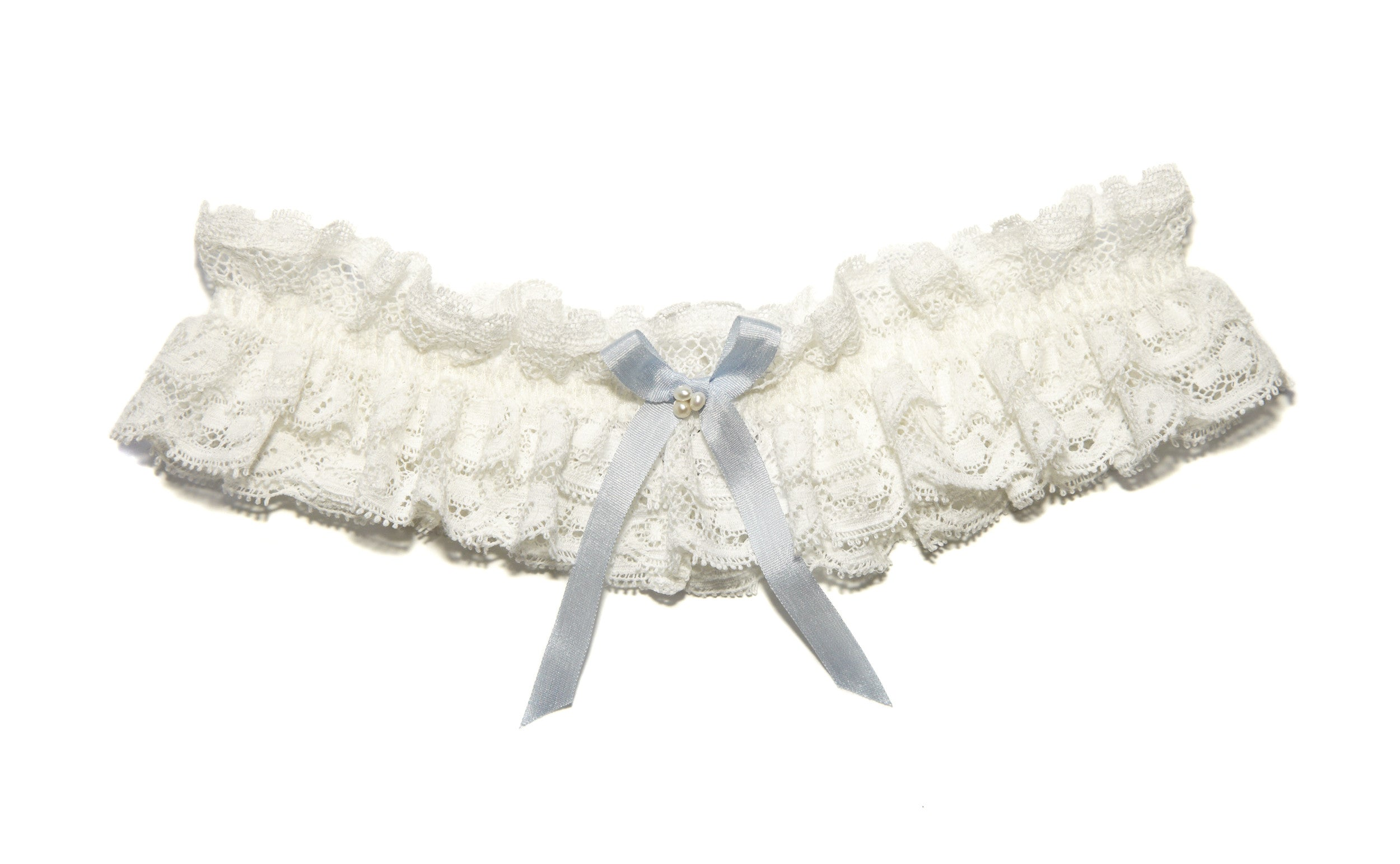 Luella Ivory Lace Wedding Garter with pearls and Something Blue Silk Bow, Luxury wedding garter, Ivory Lace Garter, Ivory Lace Bridal Garter, Silk Wedding Garter, Something Blue Garter