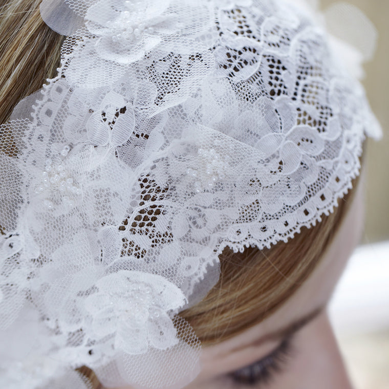 Larissa Silk Flower Lace Bridal Headband from LovebySusie Wedding Hair Accessories, Lace Bridal Hairband