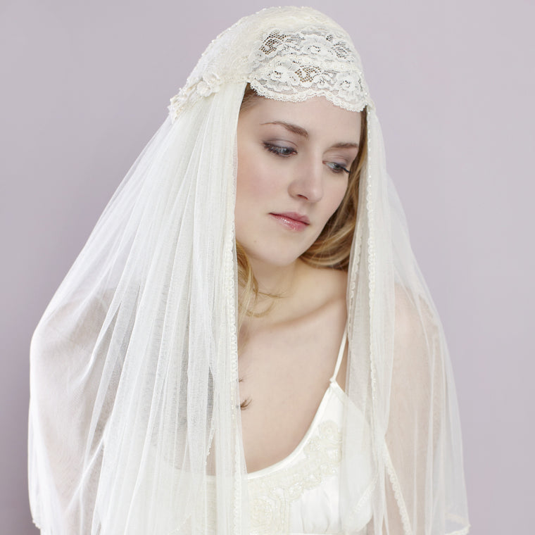 Liliana Beaded Lace Juliet Cap from LovebySusie Bridal Accessories