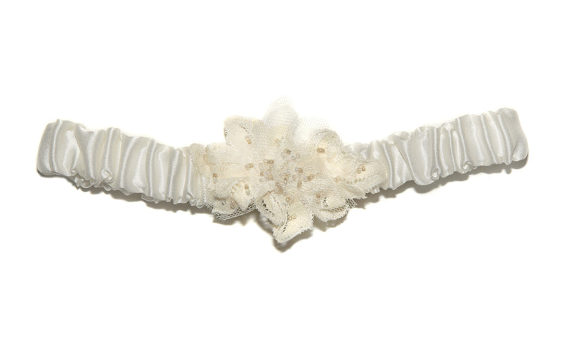 Nuala Beaded Lace Silk Wedding Garter