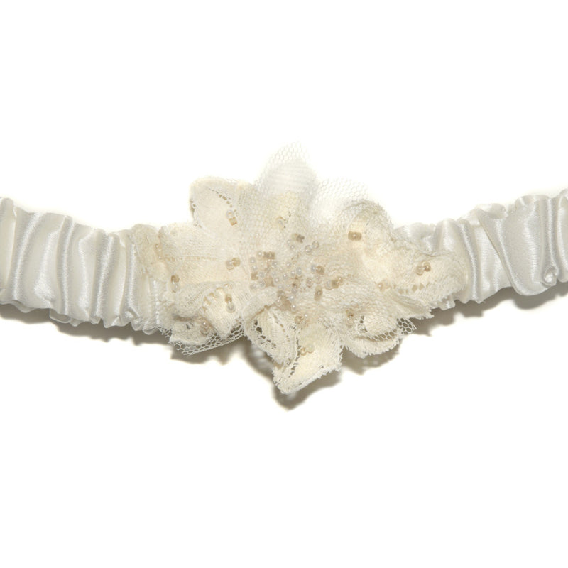 Nuala Beaded Lace Silk Wedding Garter, Silk wedding garter with beaded lace motif, Luxury silk bridal garters