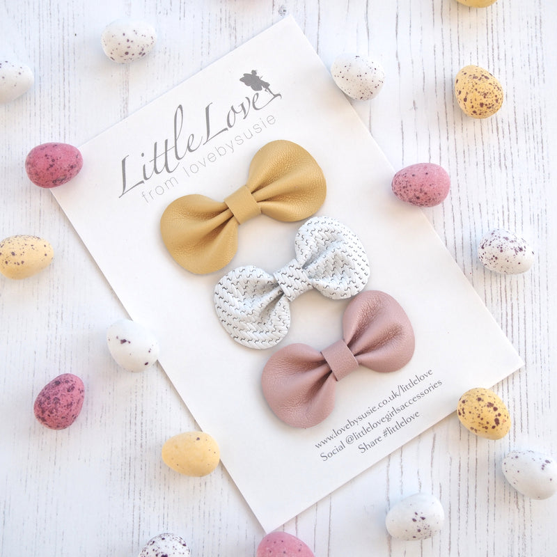 Little Love Leather Bow Hair Clip Set, Spring Hair Bows, Pink and yellow Hair Bows for babies, Toddler leather bow hair clip set in pretty Spring Colours, Baby Hair Accessories, Baby Hair Clips, Toddler Bow, Toddler Hair Bows, Leather Bows