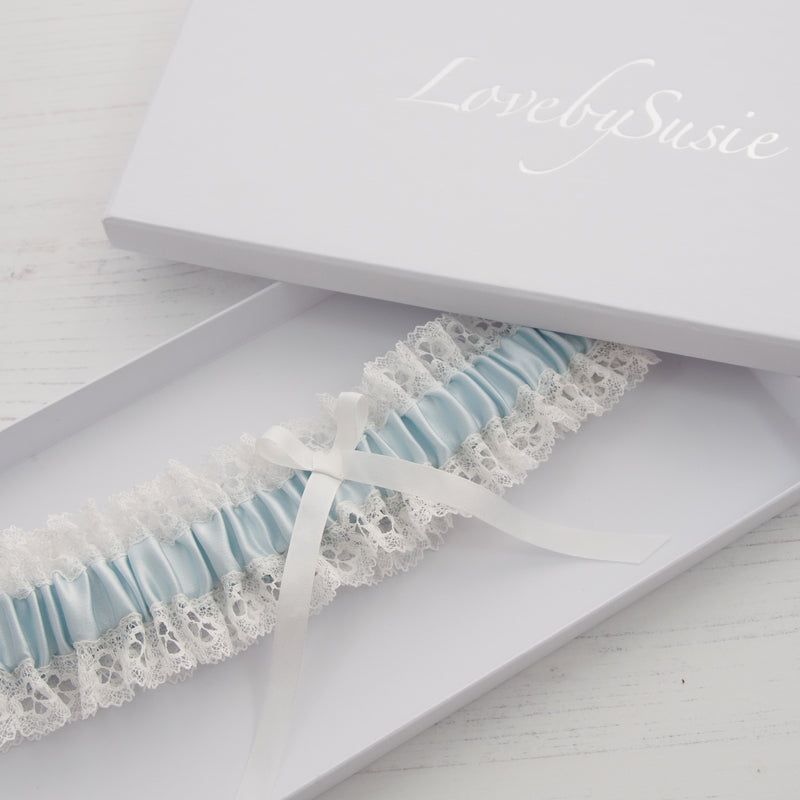 Cosette silk wedding garter, Blue silk wedding garter, something blue garter, lace wedding garter, silk wedding garters, silk bridal garter, blue wedding garter, lace wedding garters, lovebysusie garter, garters, garter, bridal garter in blue, ivory lace wedding garter