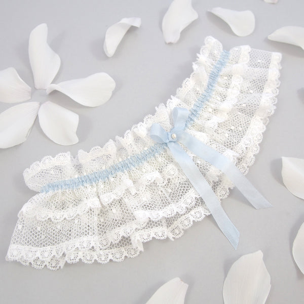 ivory lace wedding garter, frilly lace garter, ivory Lace bridal garter or Ivory Lace Garter with Something Blue Silk Bow, Vintage lace Garter, something blue garter, garter with blue bow, ivory garter form lovebysusie, luxury wedding garters, silk wedding garter, garters, garter