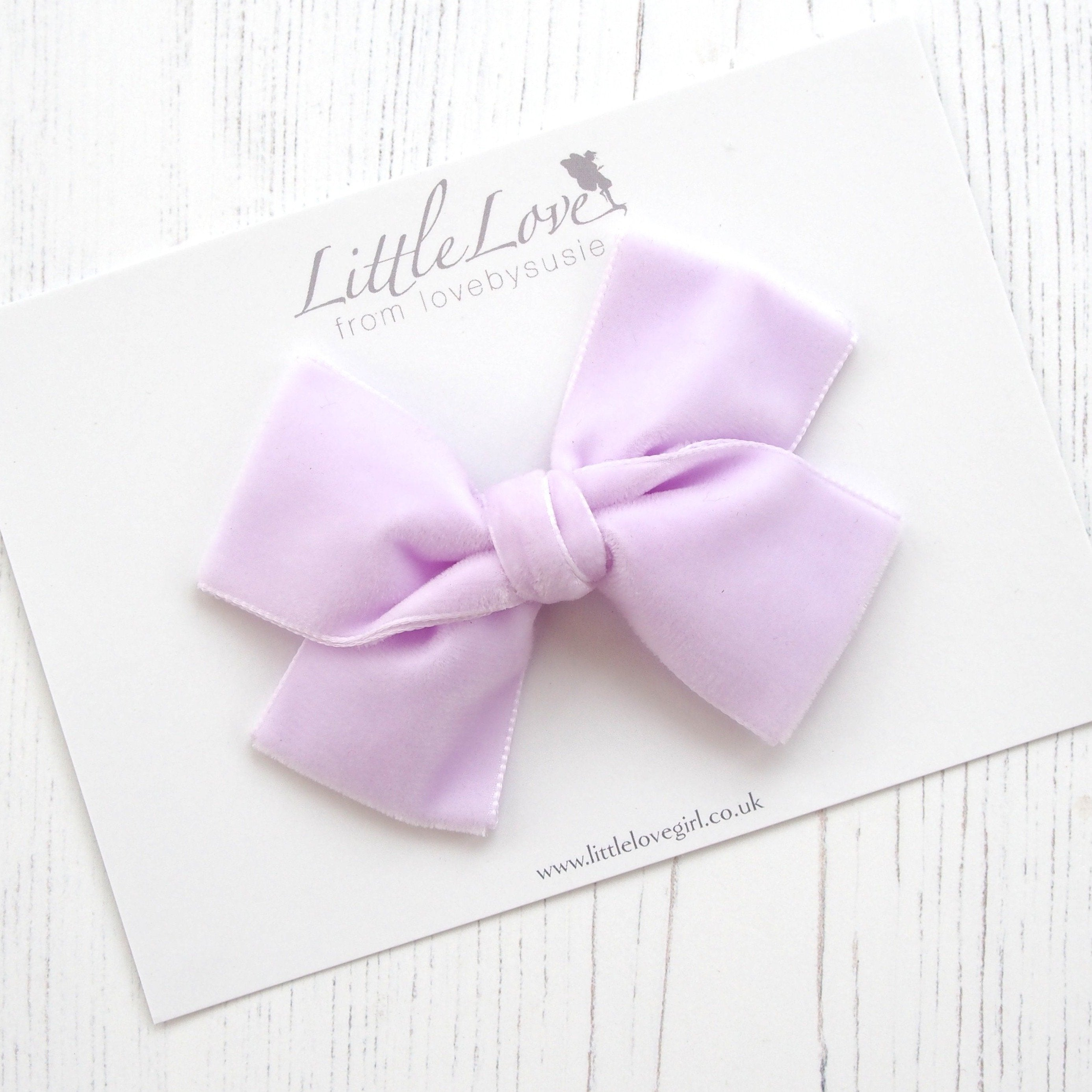 Little Love luxury velvet bow hair clip in pale lilac, velvet bow hair clip, large velvet bow uk, lilac velvet hair bow, lilac  bow hair clip, pale lilac velvet bow, violet velvet hair bow, oversize velvet bow, velvet hair clips, velvet hair bows, velvet bow for little girls, velvet baby bow headband