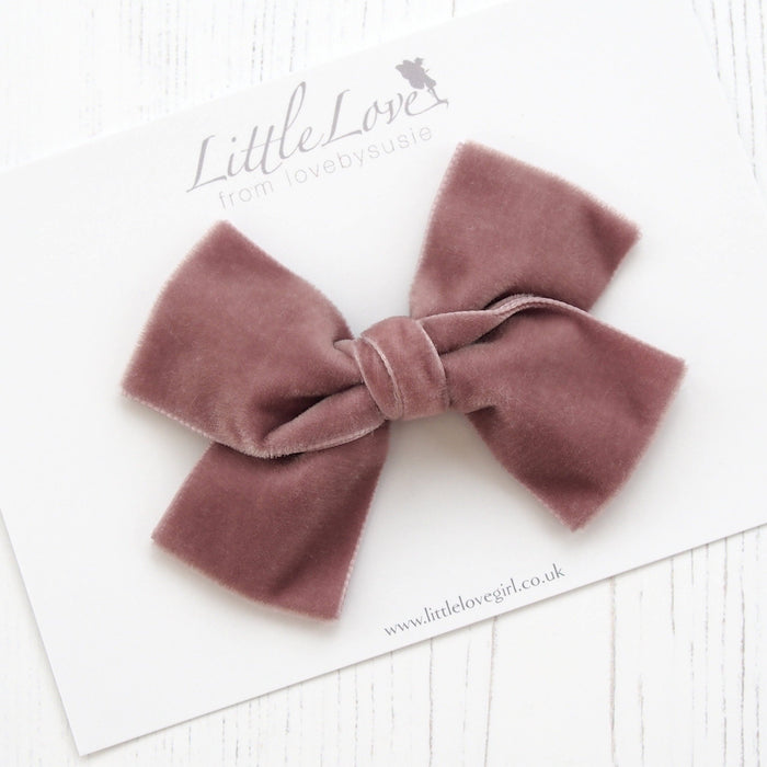 Little Love luxury velvet bow hair clip in dusky rose, velvet bow hair clip, large velvet bow uk, pink velvet hair bow, mauve bow hair clip, dusky pink, velvet bow, mauve velvet hair bow, oversize velvet bow, velvet hair clips, velvet hair bows, velvet bow for little girls, velvet baby bow headband