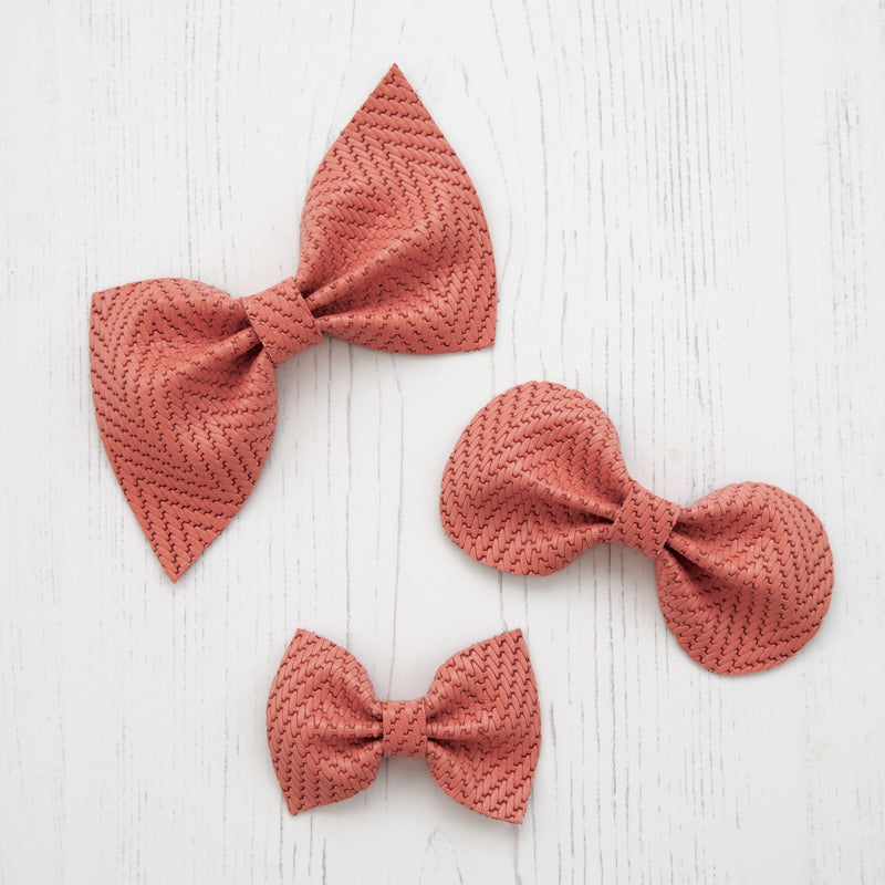 Leather Bow/ Coral Embossed