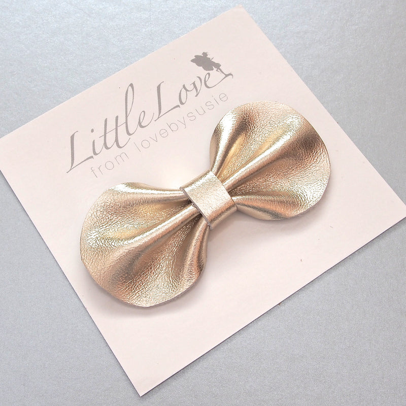 Gold Bow Leather Bow Hair Clip from Little Love Girls Accessories