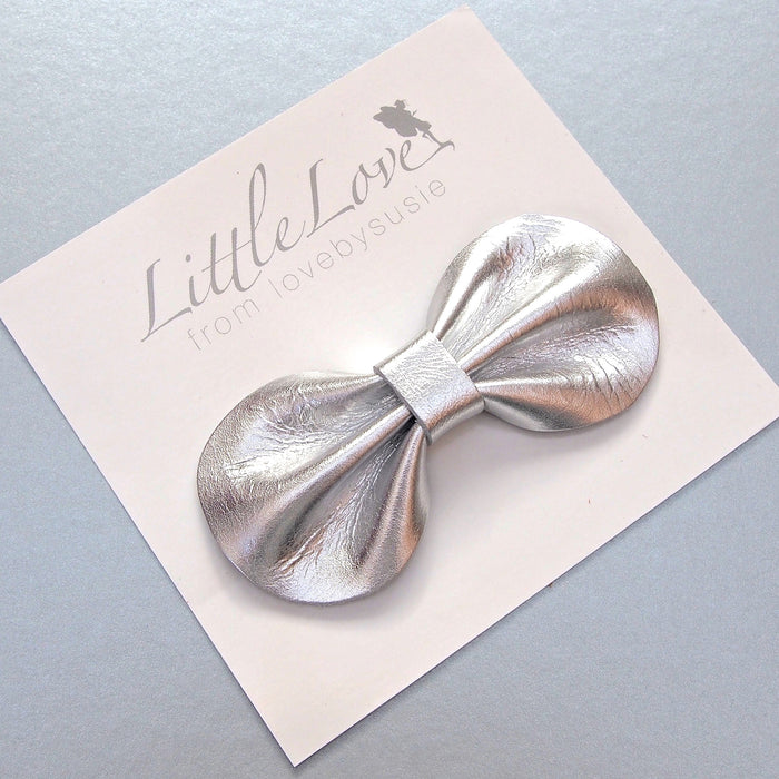 Silver Bow Leather Bow Hair Clip from Little Love Girls Accessories