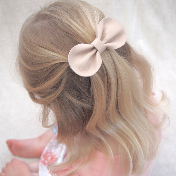 Girls Blush Pink Leather Bow Hair Clip form Little Love Girls Accessories