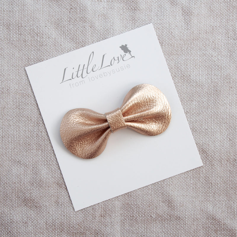 Coco leather bow hair clip in neutral shades, muted pastels and soft metallics, Girls Hair Clips, Hair Bow, Rose Gold Hair clip, Metallic Leather Bows, Rose Gold Bow Hair clip, Toddler Hair Bow in rose gold, Rose Gold Leather Hair Bow, Little Love Leather Bow, Rose Gold Hair bow, Metallic Leather Bow Hair Clips, Little Girls Hair Bows in rose gold