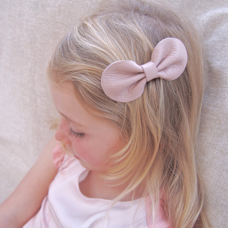 Dusky Pink Leather Bow Hair Clip from Little Love Girls Hair Accessories