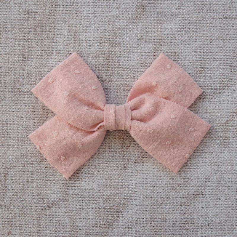 Pink Swiss Dot Cotton Hair Bow, Cotton Bow Hair Clip in pink, pink school hair bow, pink Bow barrette, oversize pink hair bow, pink bow hair clips, pink cotton bow, kids hair accessory, girls big hair bows, big pink bow hairclips, Little Love Girl, Childrens Hair accessories