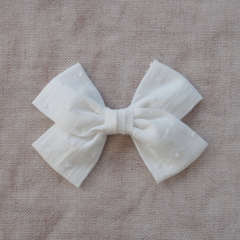 White Swiss Dot Cotton Hair Bow, Cotton Bow Hair Clip in white, white flower girl hair bow, white Bow barrette, oversize white hair bow, white bow hair clips, white cotton bow, kids hair accessory, girls big hair bows,big white bow hairclips, Little Love Girl, Childrens Hair accessories, Flower Girl bow White