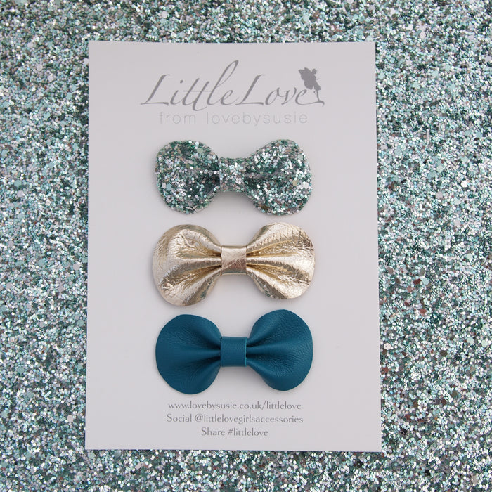 Mini Bow Hair Clip Set / EMERALD CITY