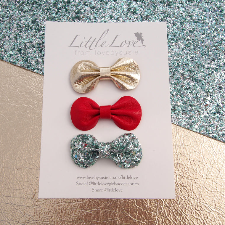 Christmas Bow Set for Girls, Baby or Toddler bow hair clip set in Red, Emerald Green and Gold, gold baby bow, Red Christmas bow Hair Clip, Baby Christmas Hair Accessories, Red Baby Bow, Gold Baby Bow, Gold Bow hair Clip for Christmas, Red Christmas bow