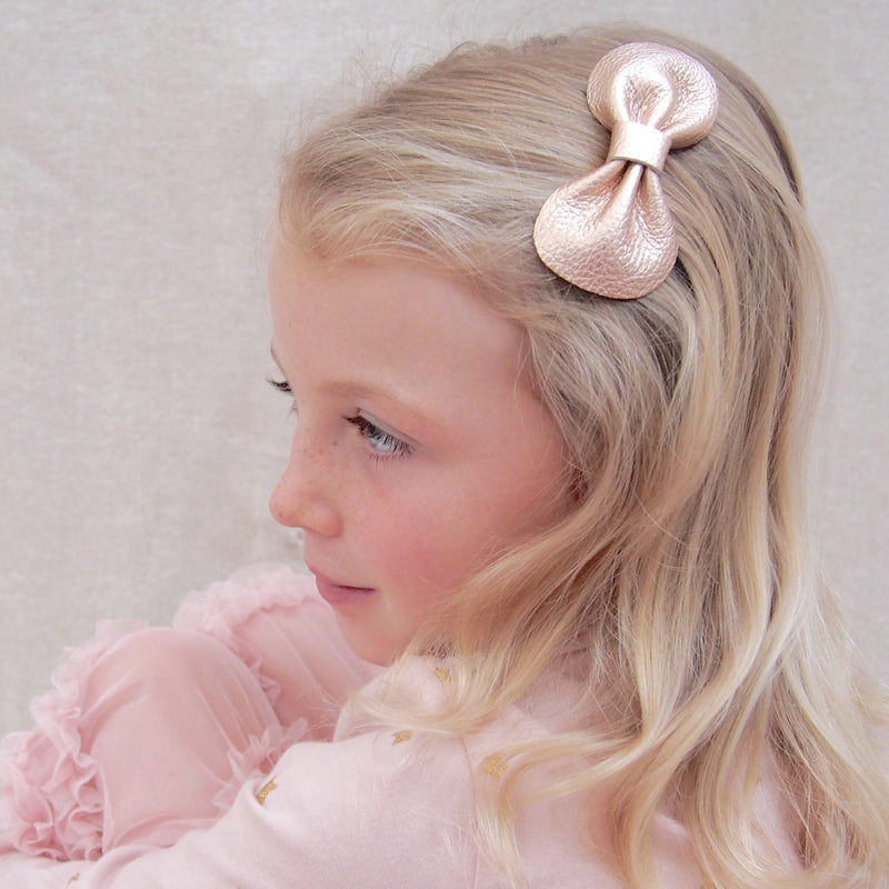 Rose Gold Leather Bow Hair Clip for Girls, Rose Gold Bow Hair Accessory, Girls Hair Bow in Rose Gold, Rose Gold Bow, Little love Girls Hair Accessories