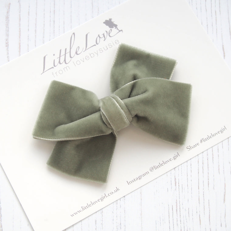Velvet Bow Hair Clip/ Sage Green